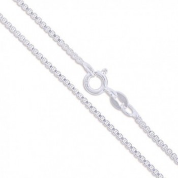 Sterling Silver 1.4mm Box Chain Necklace - Spring Clasp - CP11EYZPMHP
