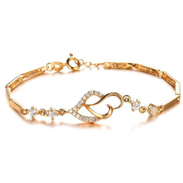 Opk Jewelry18k Gold Plated Elegant Women&lsquos Link Bracelet Double Heart Gold Bracelet Wedding Gifts - CF11LHUCDWH