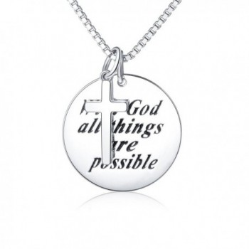 "Sterling Silver Engraved ""With God All Things Are Possible"" Inspirational Cross Necklace - CZ187R5HLGW"