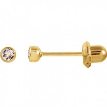 3mm Crystal Bezel Piercing Earrings in 14k Yellow Gold - C711BA5MSYB