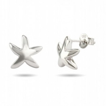 Sterling Silver Starfish Stud Earrings- 0.5 Inches - CU1110F2JAT