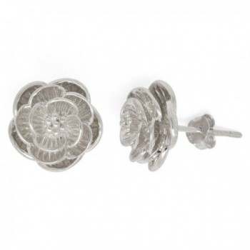 Sterling Silver Blooming Flower Stud Earrings - CL184SW6II0