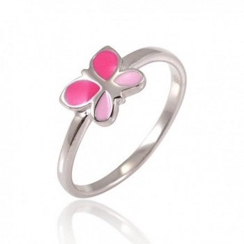 925 Sterling Silver Fuchsia Pink Enamel Little Butterfly Ring Children Jewelry Size 4- 5- 6 - CZ1267RMUZT