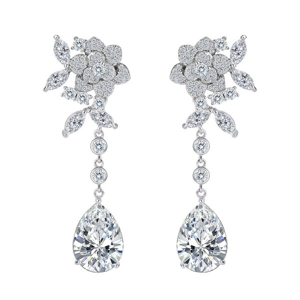 BriLove Women's Wedding Bridal Cubic Zirconia Flower Teardrop Dangle Earrings - Clear Silver-Tone - CP186M6H9OA