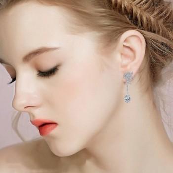 BriLove Zirconia Teardrop Earrings Silver Tone