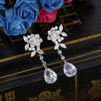 BriLove Zirconia Teardrop Earrings Silver Tone in Women's Drop & Dangle Earrings