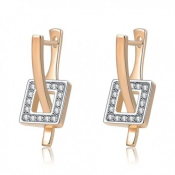 Mytys Crystal Square Dangle Stud Rose Gold Special Earrings for Women - CU17YED2W4O