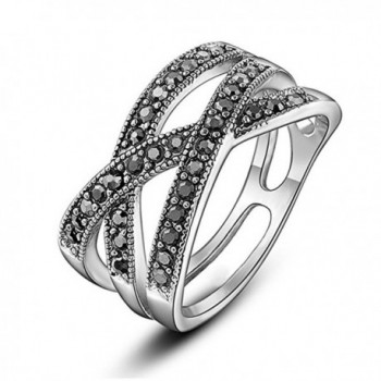 Yfnfxl Womens Vintage Black Marcasite CZ Rhinestone Crossover Stainless Steel Rings - CH188KNTWHI