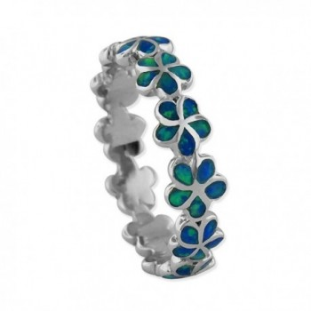 Sterling Silver Synthetic Opal Plumeria Band Ring - C811MWDJ9IJ