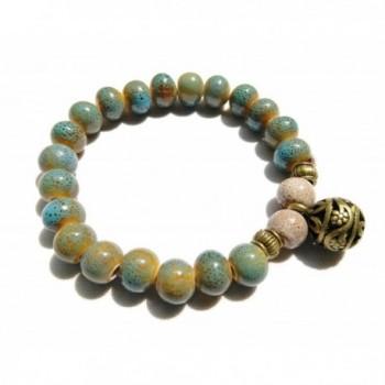 Porcelain Pot Beads with Brass Ball Buddhist Prayer Wrist Mala Bracelet - Sea Blue - CW11AG480ML