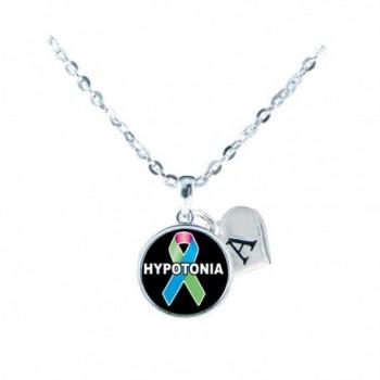Custom Hypotonia Awareness Ribbon Silver Necklace Jewelry Choose Initial - CD12MXU1PBZ