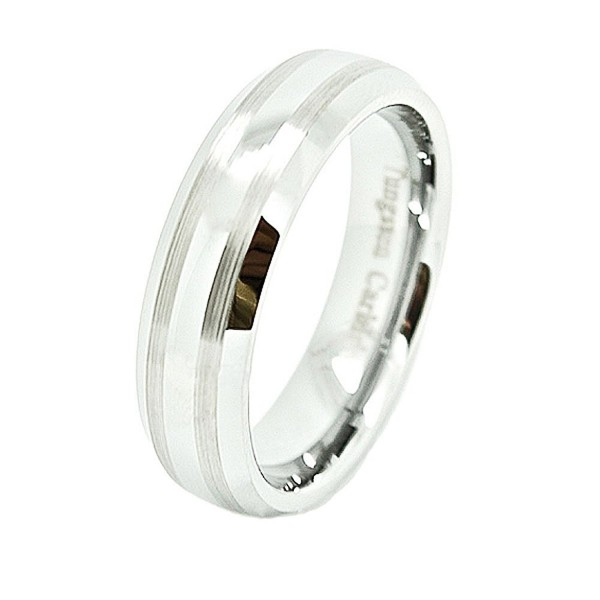 Unisex 6mm Domed Tungsten Carbide Wedding Band with Dual Brushed Satin Lines - CY11EZ8007N