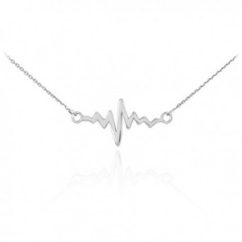 925 Sterling Silver Lifeline Pulse Pendant Heartbeat Necklace - CB11IY6UX2T