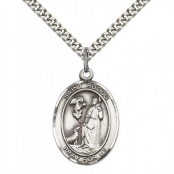 "Sterling Silver St. Rocco Pendant with 24"" Stainless Steel Heavy Curb Chain. Patron Saint of Birdflu - C112836F5OF"