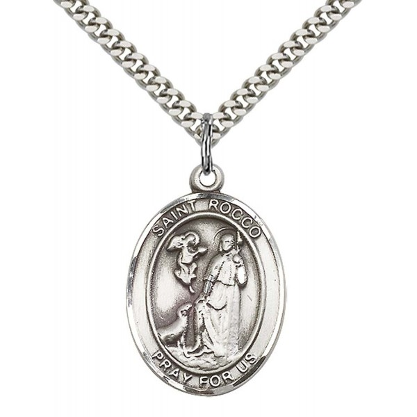 """Sterling Silver St. Rocco Pendant with 24"""" Stainless Steel Heavy Curb Chain. Patron Saint of Birdflu - C112836F5OF"""