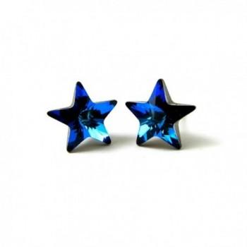 Bermuda Blue Faceted Star Finest Austrian Crystal Stud Earrings- 10mm - CI110T433GR