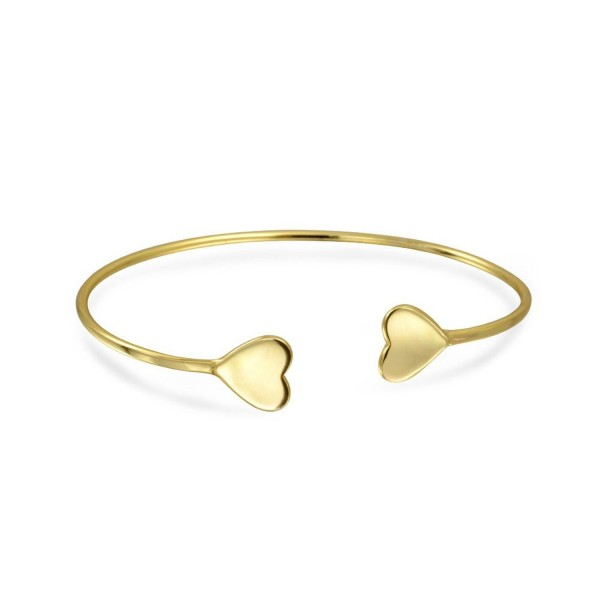 Bling Jewelry Gold Plated Thin Stackable Heart Bangle Bracelet 925 Silver - C711VOILIP5