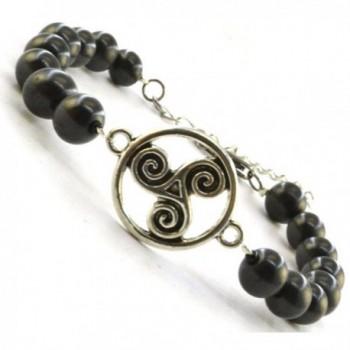 """Shungite Bracelet with Vintage Connectors - """"Celtic Double Spirals 6 - 6.75"""""""""""" - CR12NG6HUUS"""