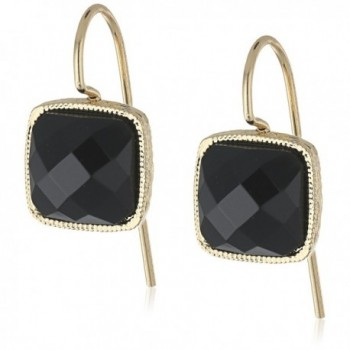 1928 Jewelry Gold-Tone Square Petite Drop Earrings - Black - CH12IDQM2CN