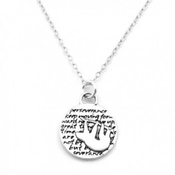 """Kevin N Anna Sloth (Perseverance quote) Sterling Silver Small Pendant Necklace- 18"""" - CV126XZVPEH"""