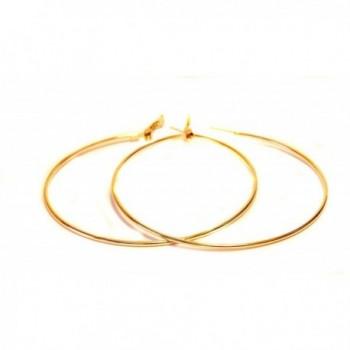 Large Hoop Earrings 3 Inch Hoop Earrings Gold Tone Hoop Earrings Simple Thin Hoops - C41242IWM8F