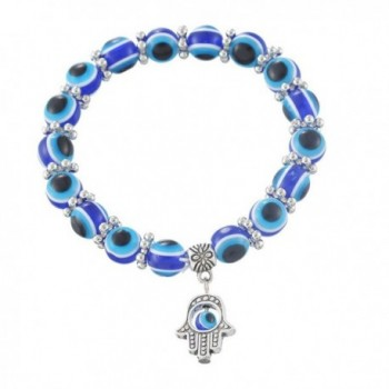 MJartoria Hamsa Hand Dangle Evil Eye Ball Beads Elastic Stretch Wrap Charm Bracelet Blue - CL11YMHN71X