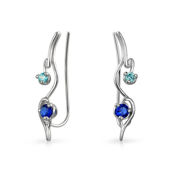 Bling Jewelry .925 Sterling Silver Modern Ear Pins Simulated Sapphire CZ - CD11UF0BYJ3