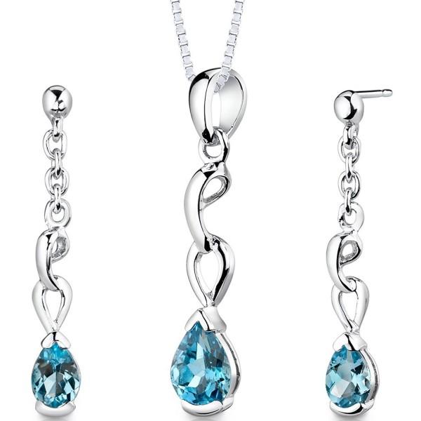 Swiss Blue Topaz Pendant Earrings Necklace Sterling Silver Rhodium Nickel Finish Pear Shape 1.75 Carats - CU112SNLPMB