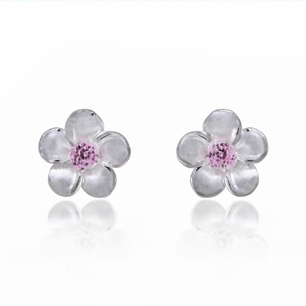 925 Sterling Silver Mini Plumeria Hawaiian Flower with Pink Cubic Zirconia Stud Earrings - CN11NUUAZO9