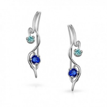 Bling Jewelry Sterling Simulated Sapphire in Women's Cuffs & Wraps Earrings