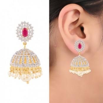 Swasti Jewels CZ Fashion Jewelry Indian Ethnic Pearls Jhumka Earrings for Women Pink - CP120FDUKUD