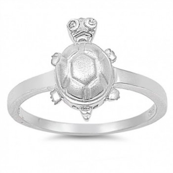 White CZ Turtle Hawaiian Animal Ring New .925 Sterling Silver Band Sizes 4-9 - CW187YA303D