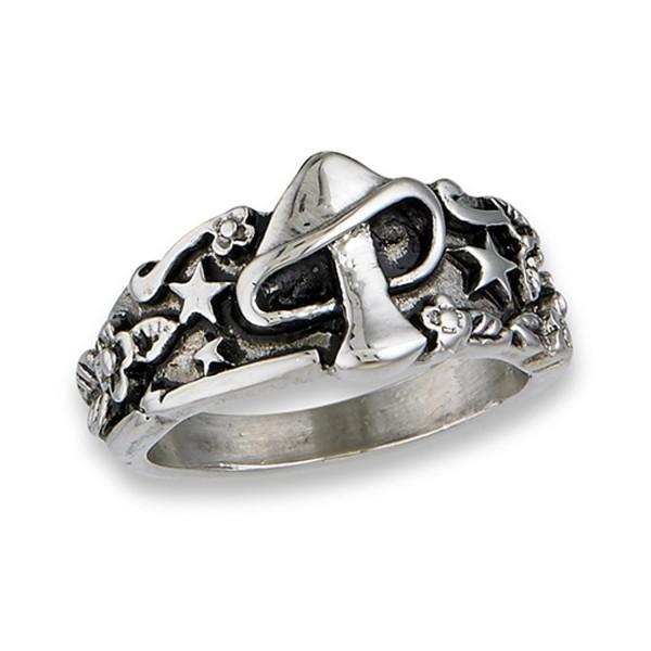 Mushroom Star Flower Mystic Fashion Ring Stainless Steel Leaf Band Sizes 6-12 - CA182STYEZ6