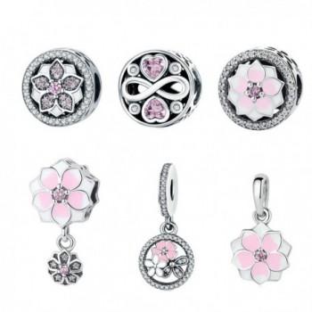 BAMOER New Arrival 925 Sterling Silver Magnolia Bloom Pale Cerise Enamel Beads For Women Bracelet - Pretty Petals - C0185507R4S