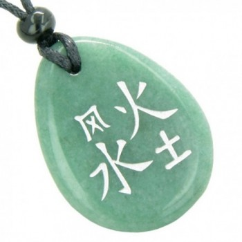 Lucky Life Kanji Elements Air Fire Water Earth Green Quartz Pendant Necklace - C41155OH9B1