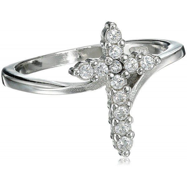 Cubic Zirconia Cross Ring Sterling Silver (Color Options- Sizes 3-15) - Clear CZ - CQ11E0GTHYH