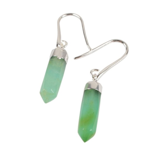 JAB 1 Pair Australia Jade Faceted Point Drop Dangle Earrings with Fishhook Backing 1353 - C4182GAZYDO