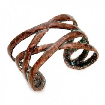 Distressed Vintage Copper Tone Criss Cross Bracelet - CX186DSXAGR