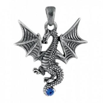 New Blue Tatsu Dragon Pendant Collectible Accessory Serpent Necklace - CQ1147SR54R