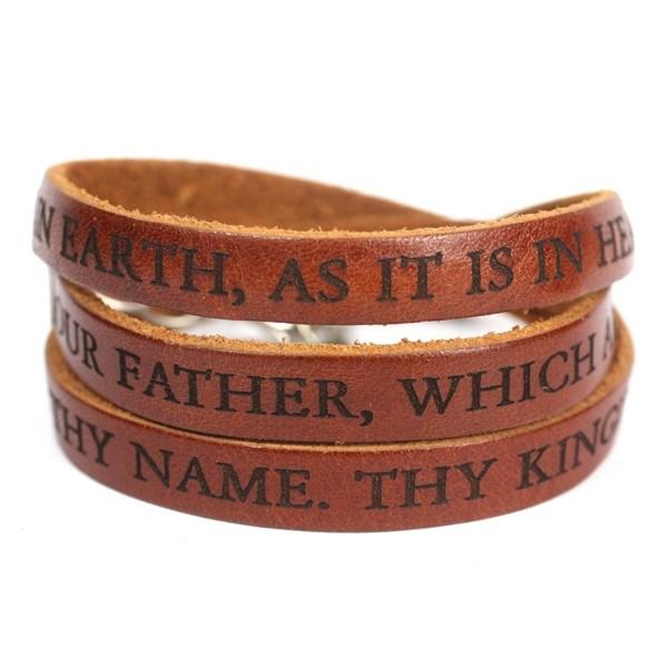 Lord's Prayer Designer Leather Wrap Bracelet - Brown - CA12F3S1D33