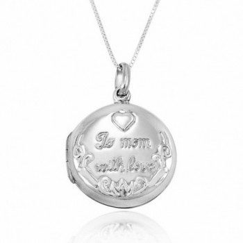 925 Sterling Silver To Mom With Love Engraved Locket Pendant Necklace- 18 inches - C911W4L26H5