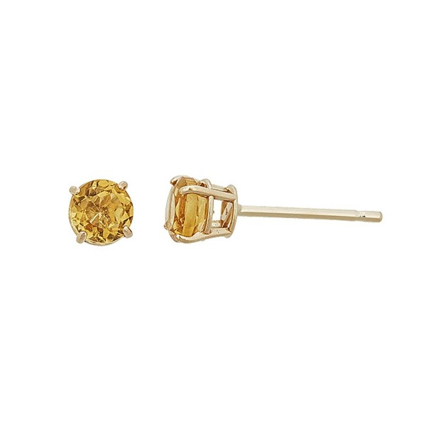 14K Gold Yellow 4MM Basket Set Genuine Stud Earrings - Citrine - C7187IXRYT7
