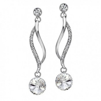 """Neoglory Jewelry Crystal Made with Swarovski Elements Wedding Drop Earrings 5 Colors 2"""" - White - CD11IFEFO2T"""