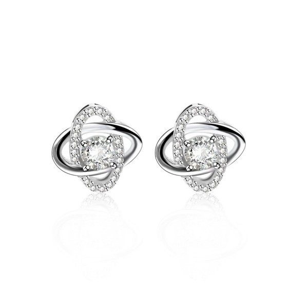 CRARINE Women's 925 sterling silver White Gold GP Crystal AAA Zircon Earrings for girl&lsquos.white gold.' - CE188YU2689