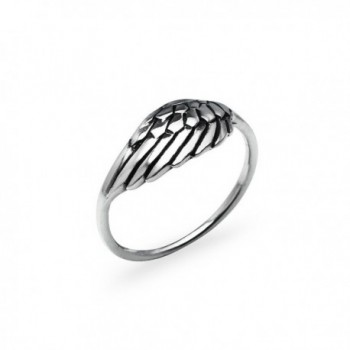Sterling Silver Angel Wing Ring - Round Comfort Fit Friendship Promise Band Sizes 5 to 12 - C8182E7YKTZ
