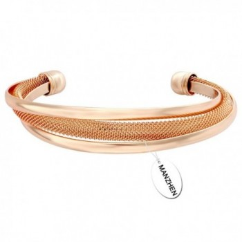 MANZHEN Vintage Mesh Twist Bangle Open Cuff Wide Bangle Bracelet for Women- Moms- Girlfriend or Teens - Rose Gold - CD12JPAAP7D