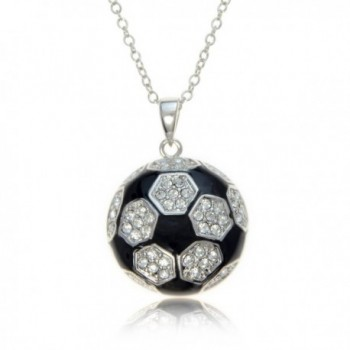 "Soccer Ball Necklace Silvertone with Black Enamel and Crystals by PammyJ- 18"" - C2116E8IMQN"