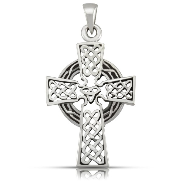 WithLoveSilver 925 Sterling Silver Oxidized Celtic Cross Pendant - CE11J3Y63C5