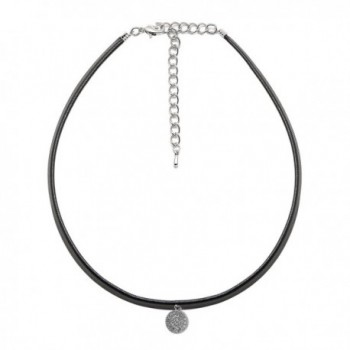 ChelseachicNYC Black Faux Leather with Crystal Accent Choker - CN12N23GGNJ