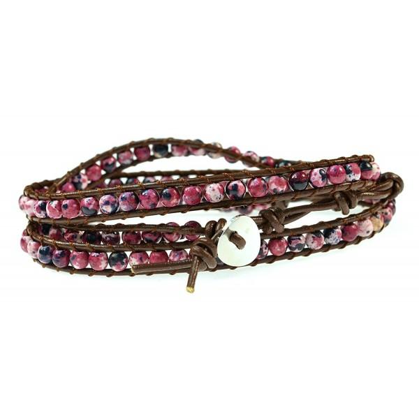 "LUOS 26"" Color Gemstones on geniune leather wrap bracelet- 3 wraps- 4mm/bead - CX11SEB7FOD"